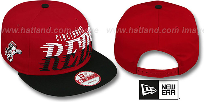 Reds 'SAILTIP SNAPBACK' Red-Black Hat by New Era : pictured without stickers that these products are shipped with
