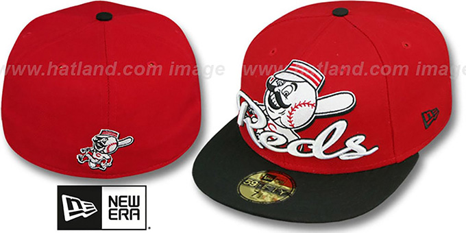 Reds 'SCRIPT-PUNCH' Red-Black Fitted Hat by New Era : pictured without stickers that these products are shipped with