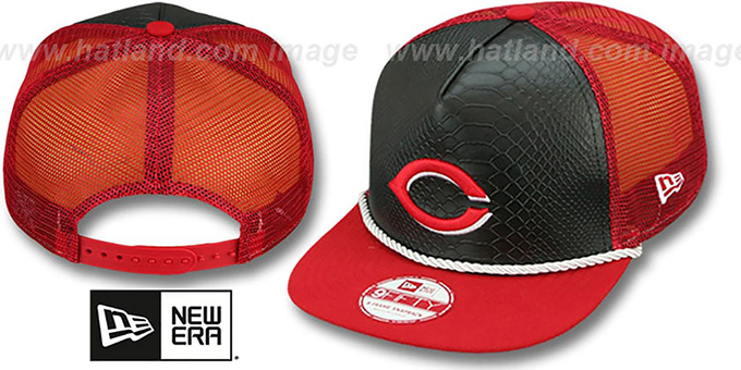 Reds 'SNAKE A-FRAME SNAPBACK' Black-Red Hat by New Era : pictured without stickers that these products are shipped with