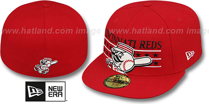 Reds 'STAR STUDDED' Red Fitted Hat by New Era : pictured without stickers that these products are shipped with