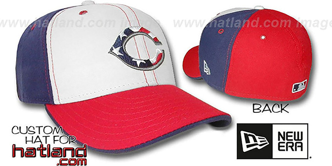 Reds 'STARS and STRIPES PINWHEEL' Fitted Hat by New Era : pictured without stickers that these products are shipped with