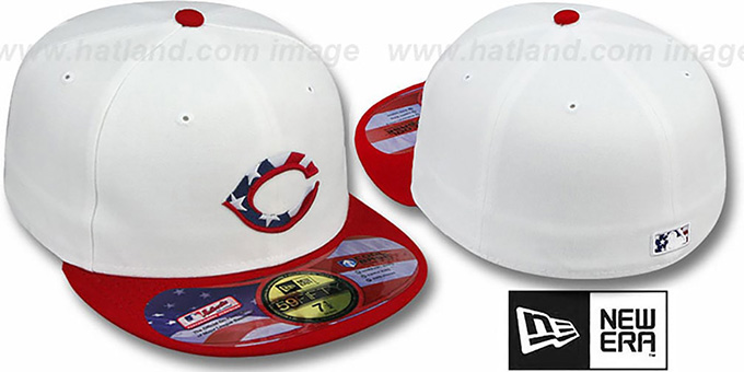 Reds 'STARS N STRIPES' White-Red Hat by New Era : pictured without stickers that these products are shipped with