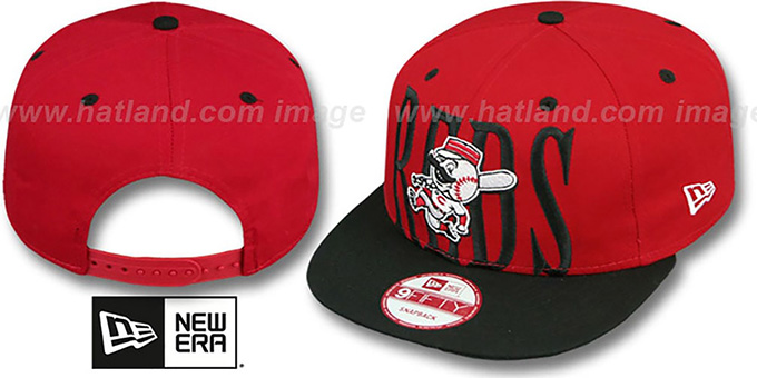 Reds 'STEP-ABOVE SNAPBACK' Red-Black Hat by New Era : pictured without stickers that these products are shipped with