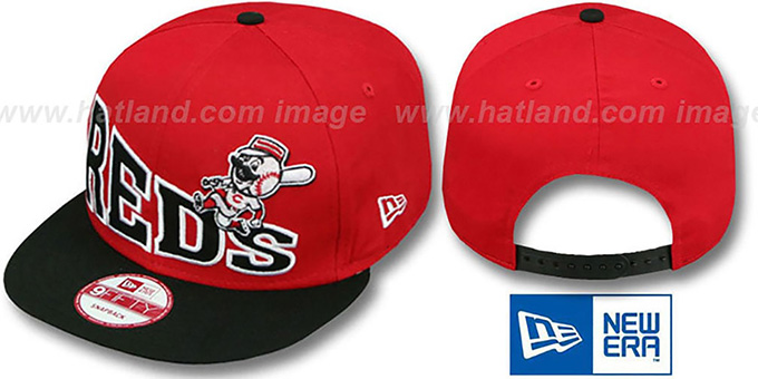 Reds 'STOKED SNAPBACK' Red-Black Hat by New Era : pictured without stickers that these products are shipped with