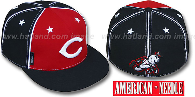 Reds 'SUPERFLY' Red-Black Fitted Hat by American Needle : pictured without stickers that these products are shipped with