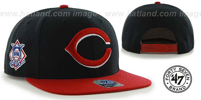 Reds 'SURE-SHOT SNAPBACK' Black-Red Hat by Twins 47 Brand : pictured without stickers that these products are shipped with
