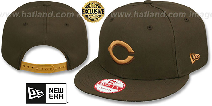 Reds 'TEAM-BASIC SNAPBACK' Brown-Wheat Hat by New Era : pictured without stickers that these products are shipped with