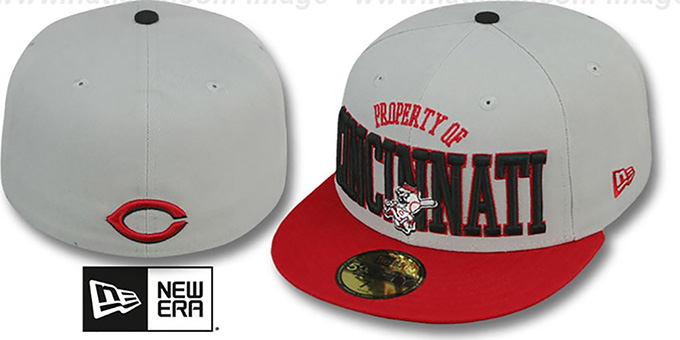 Reds 'TEAM-PRIDE' Grey-Red Fitted Hat by New Era : pictured without stickers that these products are shipped with