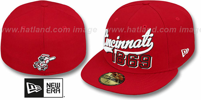 Reds 'THE BEGINNING' Red Fitted Hat by New Era : pictured without stickers that these products are shipped with