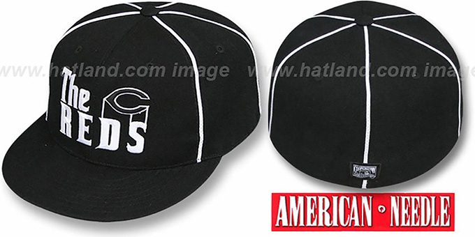 Reds 'THE GODFATHER' Black Fitted Hat by American Needle : pictured without stickers that these products are shipped with