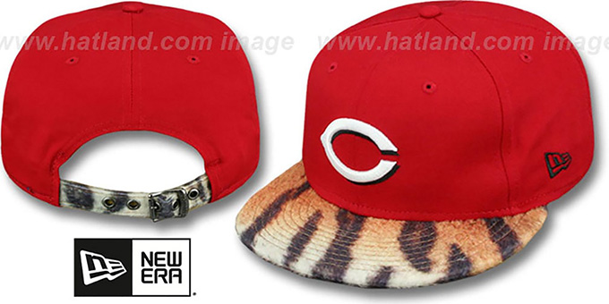 Reds 'TIGER ANIMALISTIC-FUR VIZA STRAPBACK' Hat by New Era : pictured without stickers that these products are shipped with