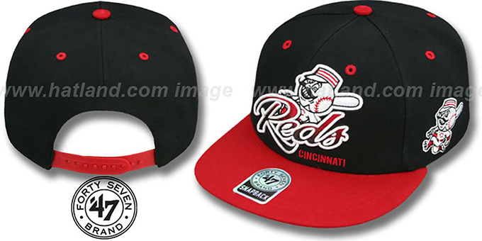 Reds 'TRICKY LOU SNAPBACK' Black-Red Hat by Twins 47 Brand : pictured without stickers that these products are shipped with