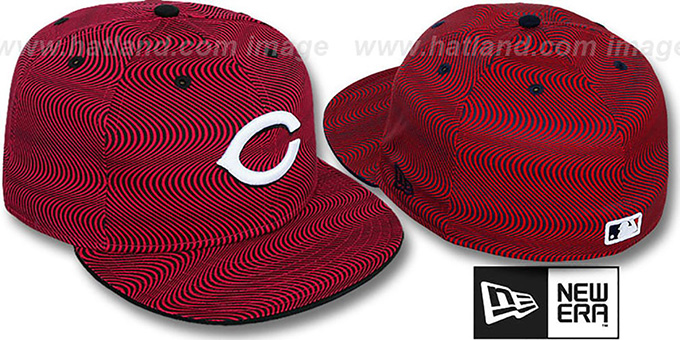 Reds 'TRIPPIN' Red-Black Fitted Hat by New Era : pictured without stickers that these products are shipped with