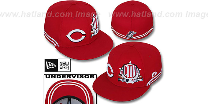 Reds 'TWO-BIT' Red-White Fitted Hat by New Era : pictured without stickers that these products are shipped with