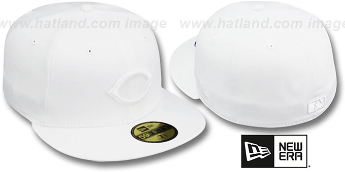 Reds 'WHITEOUT' Fitted Hat by New Era : pictured without stickers that these products are shipped with