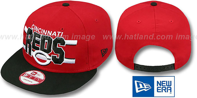 Reds 'WORDSTRIPE SNAPBACK' Red-Black Hat by New Era : pictured without stickers that these products are shipped with