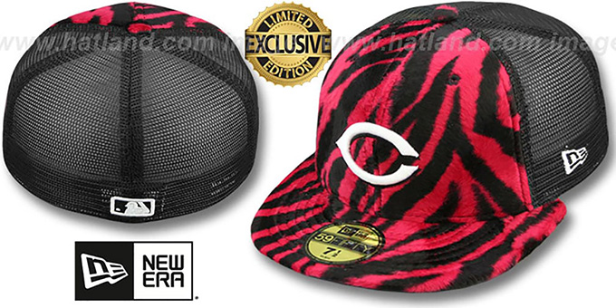 Reds ZEBRA 'ANIMAL-FUR MESH-BACK' Fitted Hat by New Era : pictured without stickers that these products are shipped with