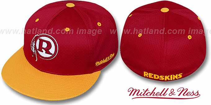 Redskins  '2T BP-MESH' Burgundy-Gold Fitted Hat by Mitchell and Ness : pictured without stickers that these products are shipped with