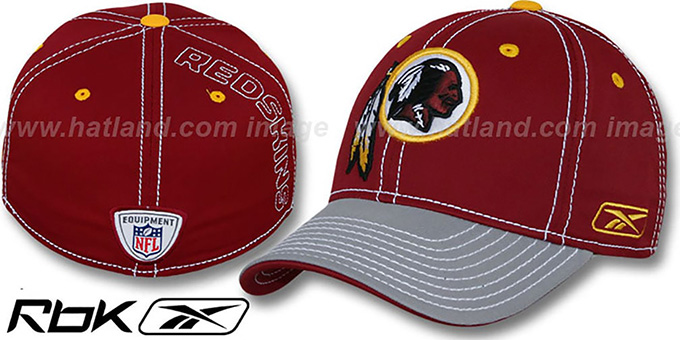 Redskins '2008-09 SIDELINE-2 FLEX' Burgundy-Grey Hat by Reebok : pictured without stickers that these products are shipped with