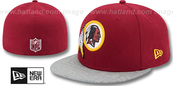 Redskins '2014 NFL DRAFT' Burgundy Fitted Hat by New Era : pictured without stickers that these products are shipped with
