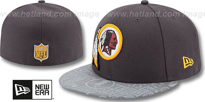 Redskins '2014 NFL DRAFT' Grey Fitted Hat by New Era : pictured without stickers that these products are shipped with