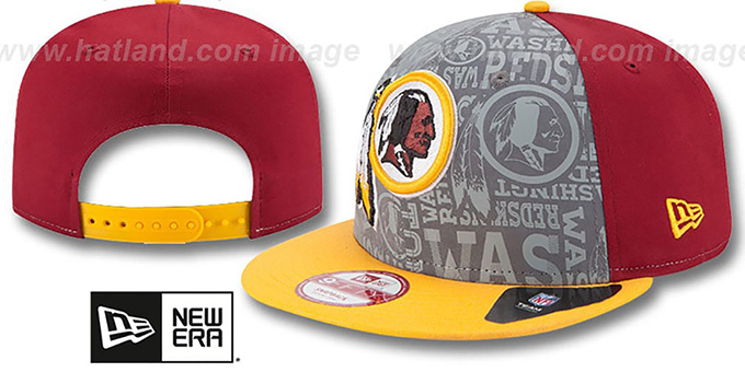Redskins '2014 NFL DRAFT SNAPBACK' Burgundy-Gold Hat by New Era : pictured without stickers that these products are shipped with