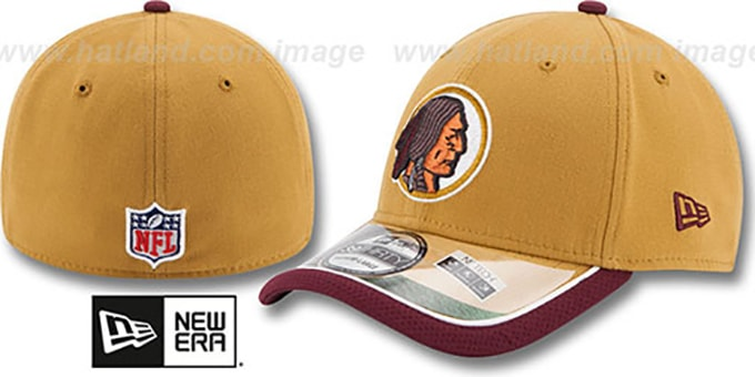 Redskins '2014 NFL STADIUM THROWBACK FLEX' Gold Hat by New Era : pictured without stickers that these products are shipped with