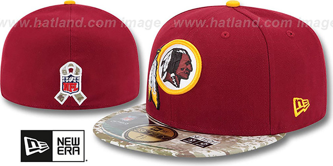 Redskins '2014 SALUTE-TO-SERVICE' Burgundy-Desert Fitted Hat by New Era : pictured without stickers that these products are shipped with