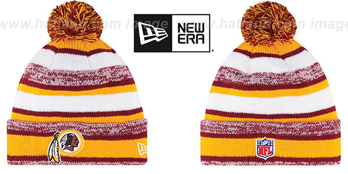 Redskins '2014 STADIUM' Knit Beanie Hat by New Era : pictured without stickers that these products are shipped with