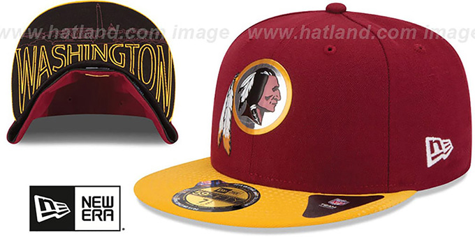 Redskins '2015 NFL DRAFT' Burgundy-Gold Fitted Hat by New Era : pictured without stickers that these products are shipped with