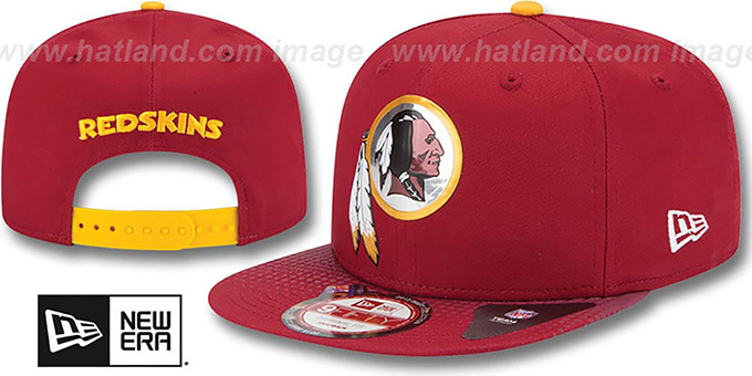 Redskins '2015 NFL DRAFT SNAPBACK' Burgundy Hat by New Era : pictured without stickers that these products are shipped with