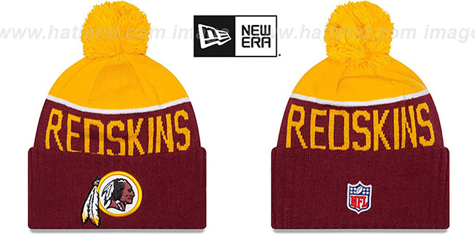 Redskins '2015 STADIUM' Burgundy-Gold Knit Beanie Hat by New Era : pictured without stickers that these products are shipped with