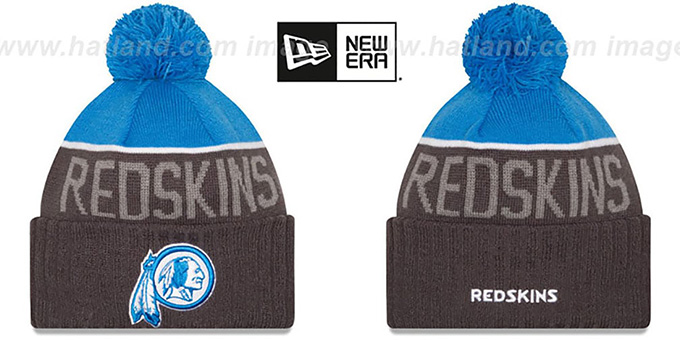 Redskins '2015 STADIUM' Charcoal-Blue Knit Beanie Hat by New Era : pictured without stickers that these products are shipped with
