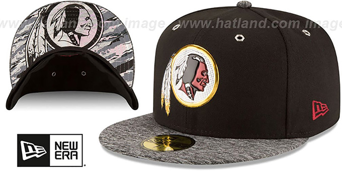 Redskins '2016 MONOCHROME NFL DRAFT' Fitted Hat by New Era : pictured without stickers that these products are shipped with