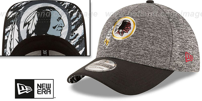 Redskins '2016 MONOCHROME NFL DRAFT FLEX' Hat by New Era : pictured without stickers that these products are shipped with