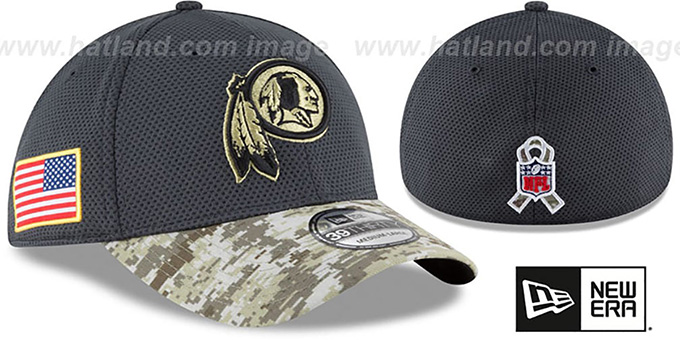 Redskins '2016 SALUTE-TO-SERVICE FLEX' Grey-Desert Hat by New Era : pictured without stickers that these products are shipped with