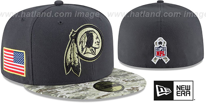 Redskins '2016 SALUTE-TO-SERVICE' Grey-Desert Fitted Hat by New Era : pictured without stickers that these products are shipped with