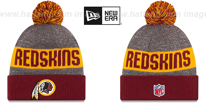 Redskins '2016 STADIUM' Burgundy-Gold-Grey Knit Beanie Hat by New Era : pictured without stickers that these products are shipped with