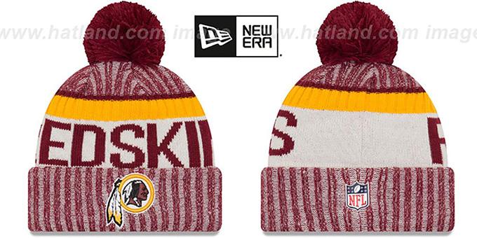 191218c1 Washington Redskins 2017 STADIUM BEANIE Burgundy Knit Hat by New Era