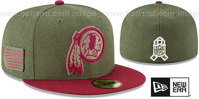Redskins  2018 SALUTE-TO-SERVICE  Olive-Burgundy Fitted Hat by New 649376a78