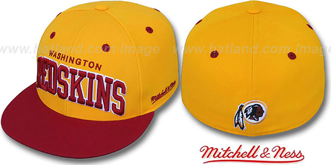 Redskins '2T CLASSIC-ARCH' Gold-Burgundy Fitted Hat by Mitchell & Ness