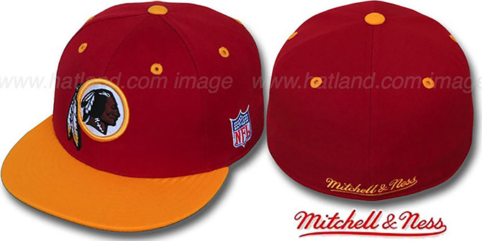 Redskins '2T CLASSIC THROWBACK' Burgundy-Gold Fitted Hat by Mitchell and Ness