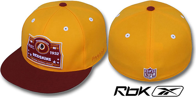 Redskins '2T ESTABLISHED' Gold-Burgundy Fitted Hat by Reebok : pictured without stickers that these products are shipped with