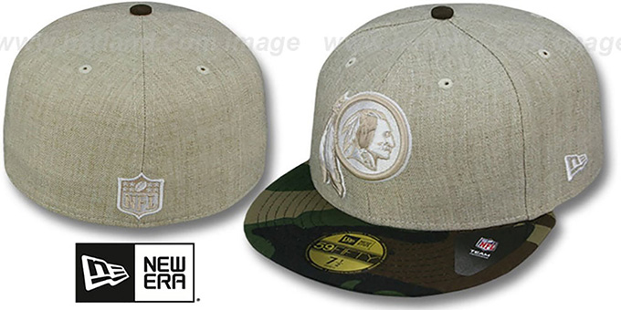 Redskins '2T-HEATHER' Oatmeal-Army Fitted Hat by New Era : pictured without stickers that these products are shipped with