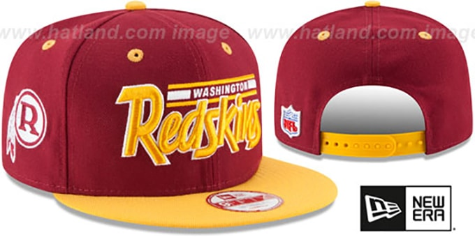 Redskins '2T RETRO-SCRIPT SNAPBACK' Burgundy-Gold Hat by New Era : pictured without stickers that these products are shipped with