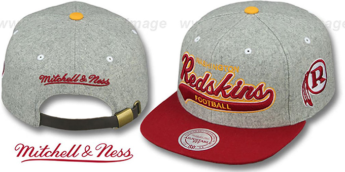 reputable site 49532 05692 Redskins '2T TAILSWEEPER STRAPBACK' Grey-Burgundy Hat by Mitchell and Ness