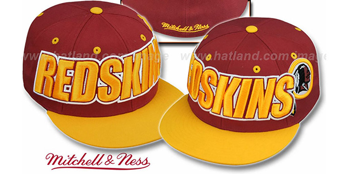 Redskins '2T WORDMARK' Burgundy-Gold Fitted Hat by Mitchell & Ness : pictured without stickers that these products are shipped with