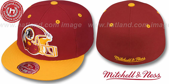 Redskins '2T XL-HELMET' Burgundy-Gold Fitted Hat by Mitchell and Ness : pictured without stickers that these products are shipped with