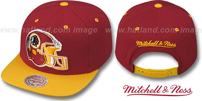 Redskins '2T XL-HELMET SNAPBACK' Burgundy-Gold Adjustable Hat by Mitchell and Ness : pictured without stickers that these products are shipped with