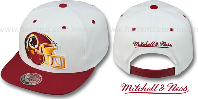 official photos 47aff 6a086 Redskins '2T XL-HELMET SNAPBACK' White-Burgundy Adjustable Hat by Mitchell  & Ness